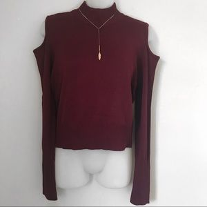 Sweaters - Cut-out Shoulder Sweater Top in Burgundy